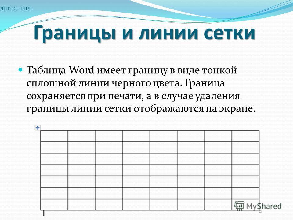 Границы и линии сетки Таблица Word имеет границу в виде тонкой сплошной линии черного цвета. Граница сохраняется при печати, а в случае удаления границы линии сетки отображаются на экране. ДПТНЗ «БПЛ»