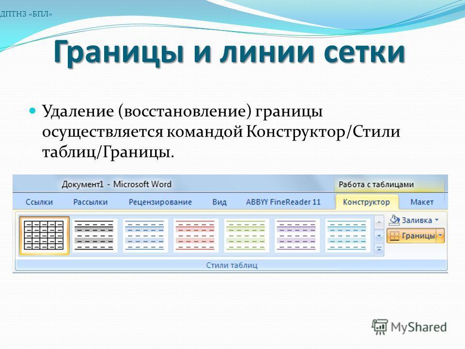 Границы и линии сетки Удаление (восстановление) границы осуществляется командой Конструктор/Стили таблиц/Границы. ДПТНЗ «БПЛ»