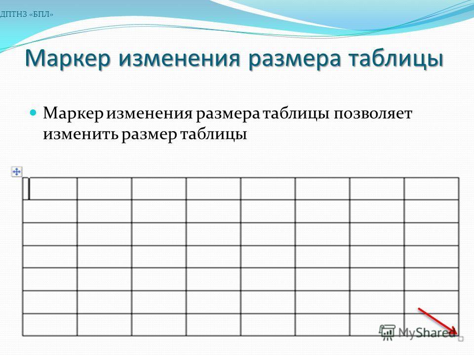 Маркер изменения размера таблицы Маркер изменения размера таблицы позволяет изменить размер таблицы ДПТНЗ «БПЛ»