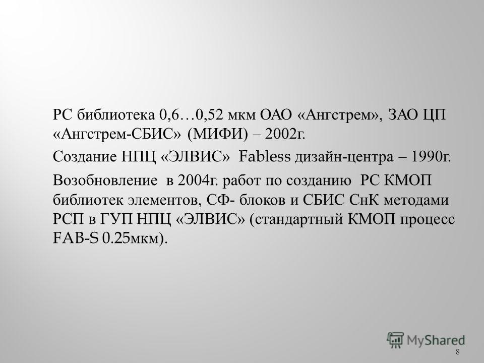 РС библиотека 0,6…0,52 мкм ОАО « Ангстрем », ЗАО ЦП « Ангстрем - СБИС » ( МИФИ ) – 2002 г. Создание НПЦ « ЭЛВИС » Fabless дизайн - центра – 1990 г. Возобновление в 2004 г. работ по созданию РС КМОП библиотек элементов, СФ - блоков и СБИС СнК методами