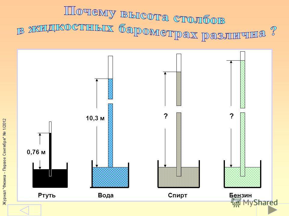 Журнал Физика - Первое Сентября 1/2012 0,76 м 10,3 м ?? Ртуть Вода Спирт Бензин