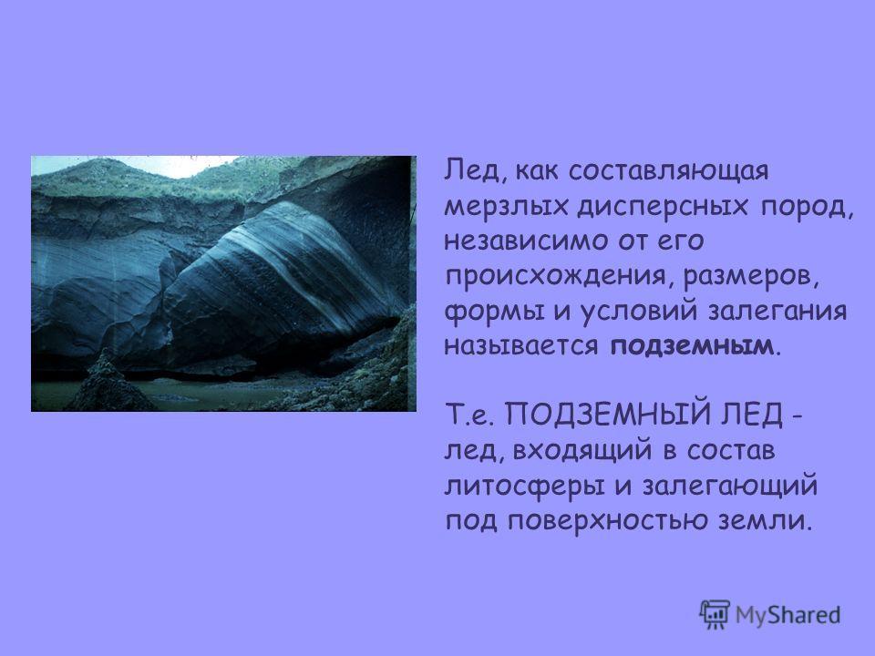 Лед, как составляющая мерзлых дисперсных пород, независимо от его происхождения, размеров, формы и условий залегания называется подземным. Т.е. ПОДЗЕМНЫЙ ЛЕД - лед, входящий в состав литосферы и залегающий под поверхностью земли.