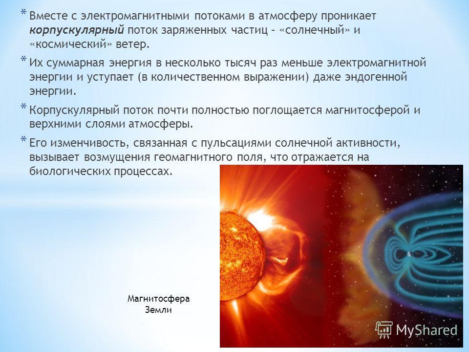 * Вместе с электромагнитными потоками в атмосферу проникает корпускулярный поток заряженных частиц – «солнечный» и «космический» ветер. * Их суммарная энергия в несколько тысяч раз меньше электромагнитной энергии и уступает (в количественном выражени