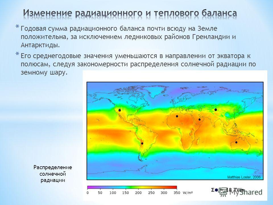 * Годовая сумма радиационного баланса почти всюду на Земле положительна, за исключением ледниковых районов Гренландии и Антарктиды. * Его среднегодовые значения уменьшаются в направлении от экватора к полюсам, следуя закономерности распределения солн