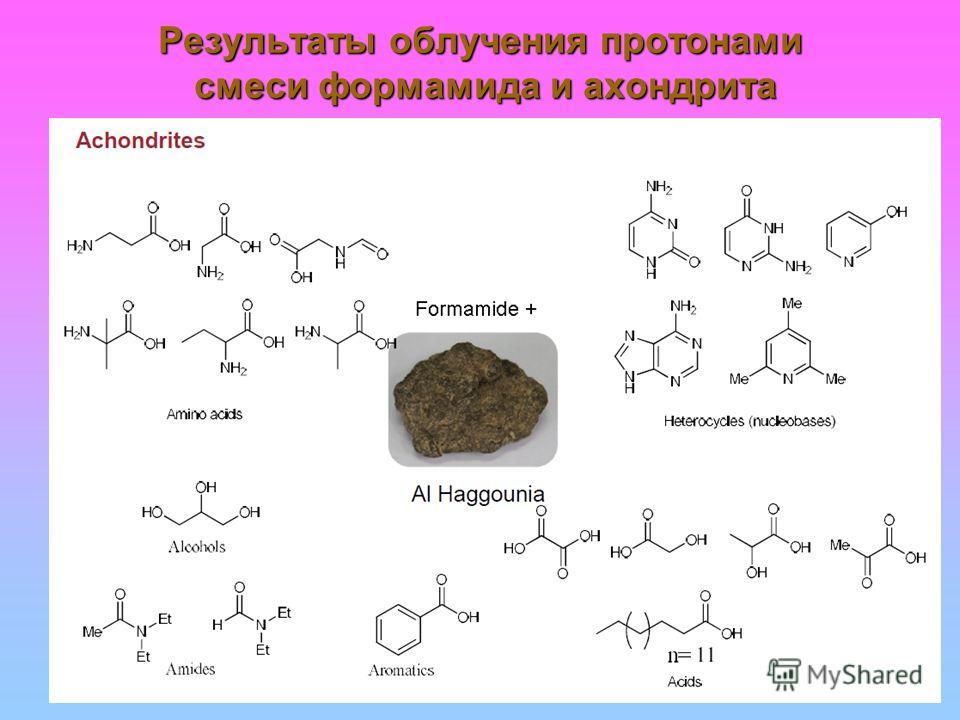 Результаты облучения про тонами смеси формамида и ахондрита