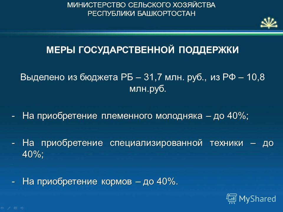 МЕРЫ ГОСУДАРСТВЕННОЙ ПОДДЕРЖКИ Выделено из бюджета РБ – 31,7 млн. руб., из РФ – 10,8 млн.руб. -На приобретение племенного молодняка – до 40%; -На приобретение специализированной техники – до 40%; -На приобретение кормов – до 40%. МИНИСТЕРСТВО СЕЛЬСКО