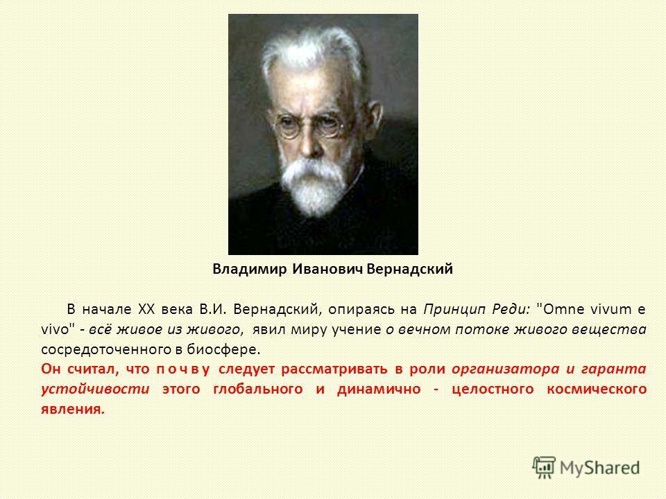 Владимир Иванович Вернадский В начале XX века В.И. Вернадский, опираясь на Принцип Реди: