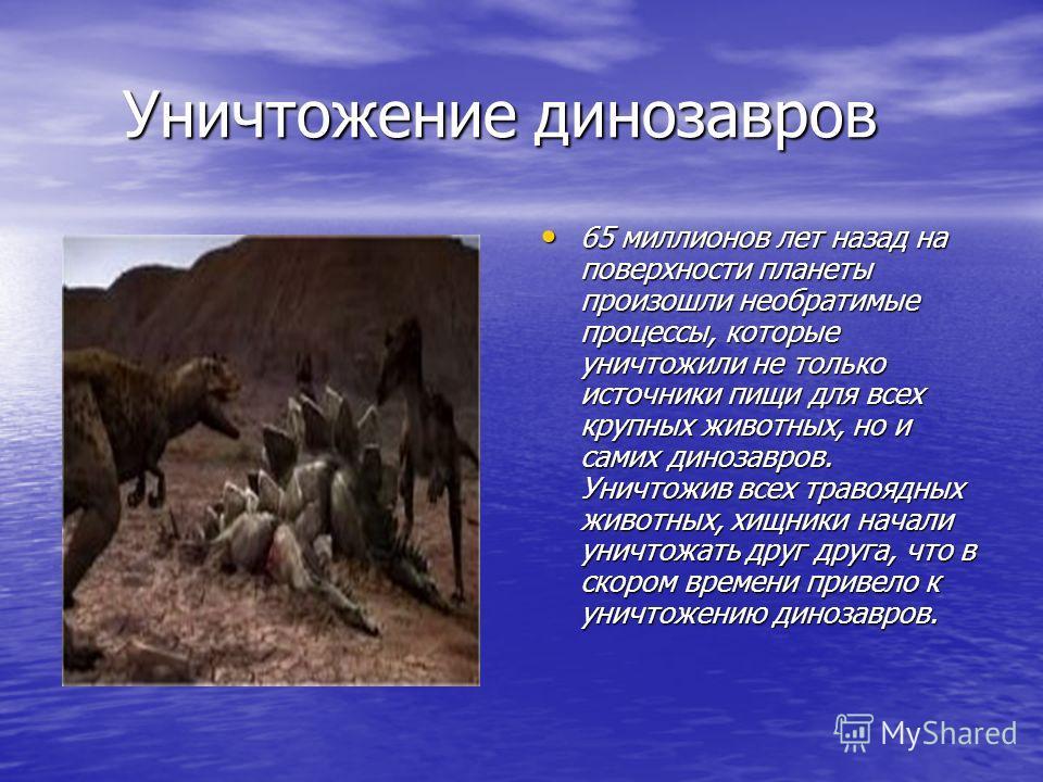 Уничтожение динозавров Уничтожение динозавров 65 миллионов лет назад на поверхности планеты произошли необратимые процессы, которые уничтожили не только источники пищи для всех крупных животных, но и самих динозавров. Уничтожив всех травоядных животн