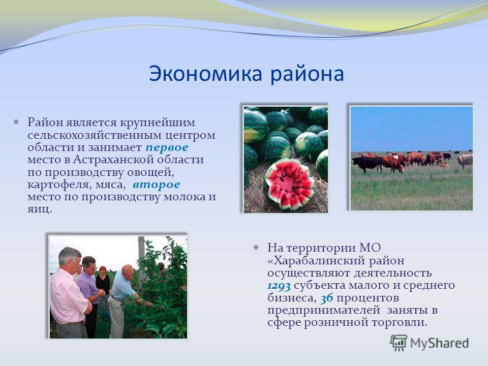 Экономика района Район является крупнейшим сельскохозяйственным центром области и занимает первое место в Астраханской области по производству овощей, картофеля, мяса, второе место по производству молока и яиц. На территории МО «Харабалинский район о
