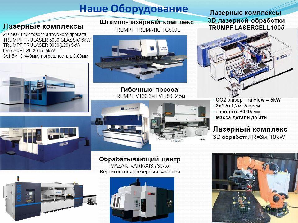 Наше Оборудование Лазерные комплексы 2D резки листового и трубного проката TRUMPF TRULASER 5030 CLASSIC 6kW TRUMPF TRULASER 3030(L20) 5kW LVD AXEL SL 3015 5kW 3 х 1,5 м, Ø 440 мм, погрешность ± 0,03 мм Штампо-лазерный комплекс TRUMPF TRUMATIC TC600L
