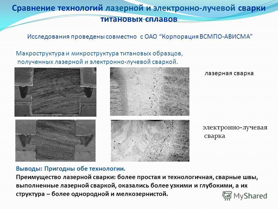 Сравнение технологий лазерной и электронно-лучевой сварки титановых сплавов Макроструктура и микроструктура титановых образцов, полученных лазерной и электронно-лучевой сваркой. лазерная сварка электронно-лучевая сварка Выводы: Пригодны обе технологи