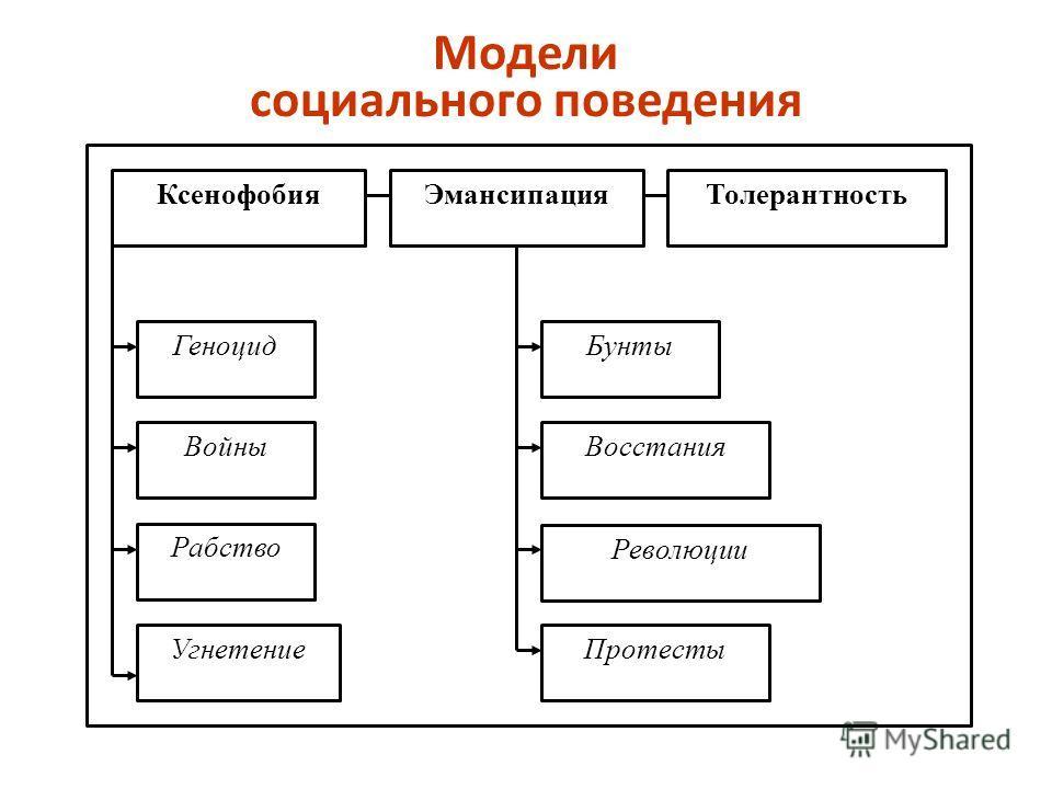 Модели социального поведения Ксенофобия ТолерантностьЭмансипация Геноцид Войны Рабство Угнетение Бунты Восстания Революции Протесты