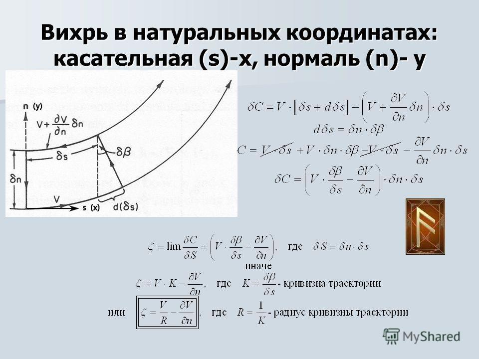 Вихрь в натуральных координатах: касательная (s)-х, нормаль (n)- у