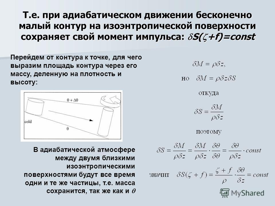 Т.е. при адиабатическом движении бесконечно малый контур на изоэнтропической поверхности сохраняет свой момент импульса: S( +f)=const Перейдем от контура к точке, для чего выразим площадь контура через его массу, деленную на плотность и высоту: В ади