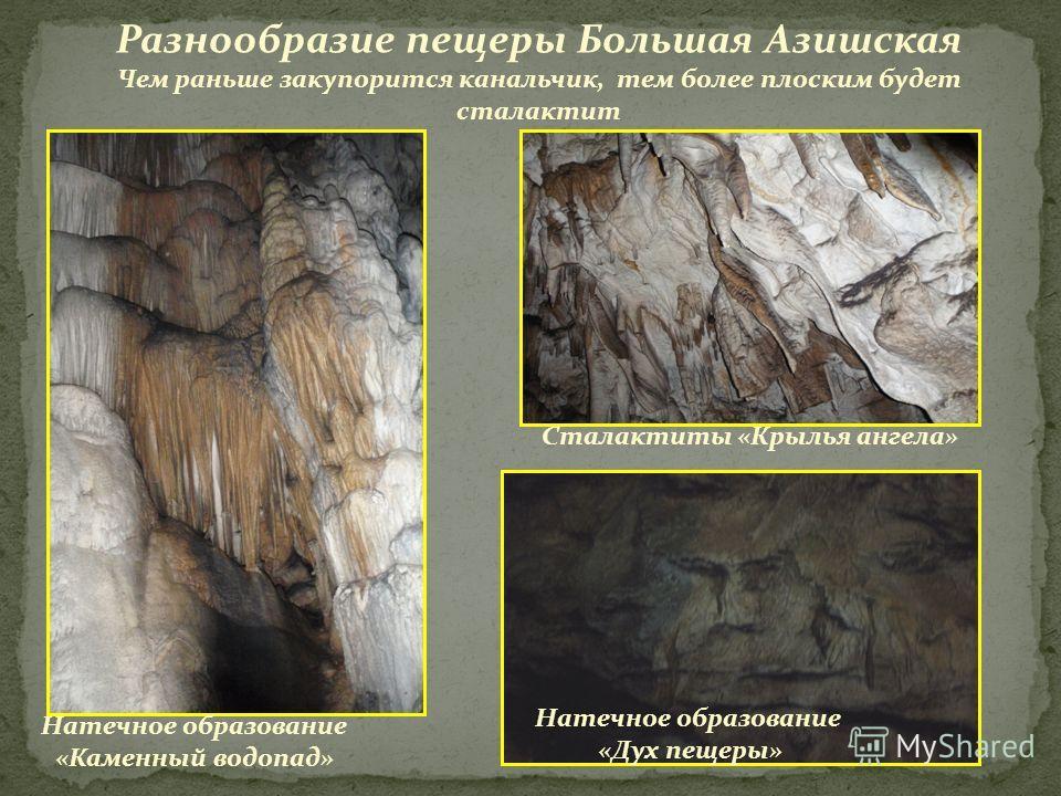Разнообразие пещеры Большая Азишская Чем раньше закупорится канальчик, тем более плоским будет сталактит Натечное образование «Каменный водопад» Натечное образование «Дух пещеры» Сталактиты «Крылья ангела»