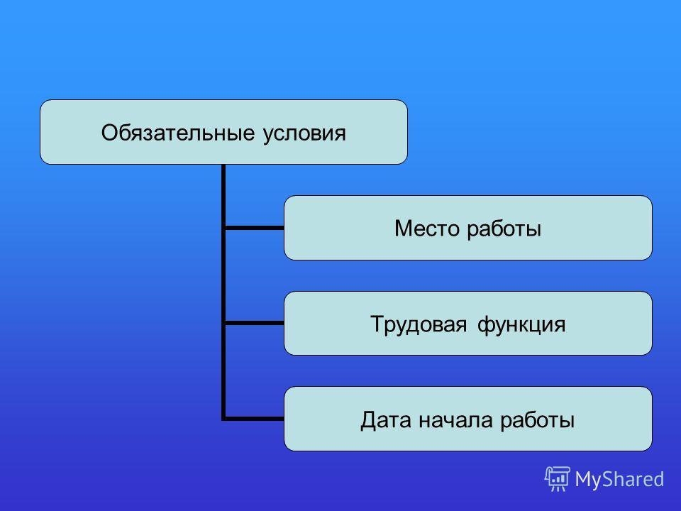 Обязательные условия Место работы Трудовая функция Дата начала работы