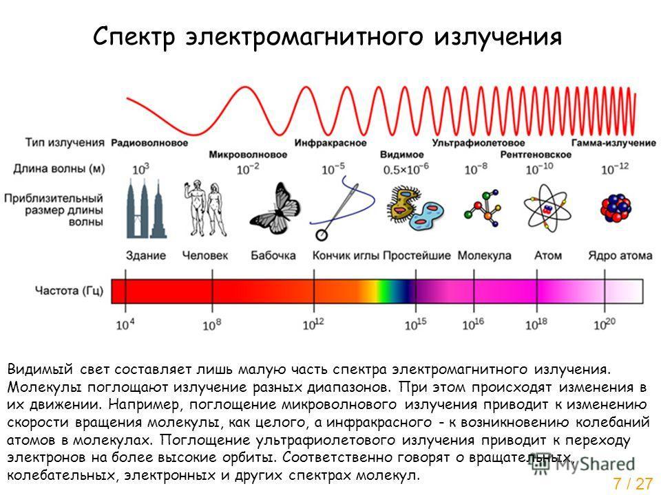 Спектр электромагнитного излучения Видимый свет составляет лишь малую часть спектра электромагнитного излучения. Молекулы поглощают излучение разных диапазонов. При этом происходят изменения в их движении. Например, поглощение микроволнового излучени