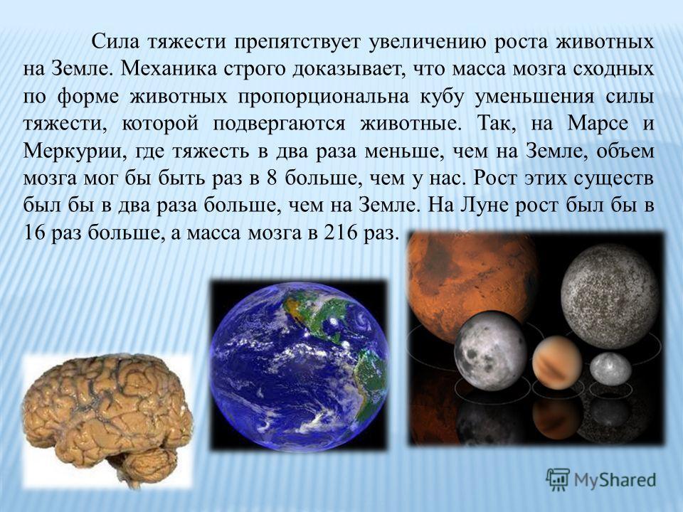 Сила тяжести препятствует увеличению роста животных на Земле. Механика строго доказывает, что масса мозга сходных по форме животных пропорциональна кубу уменьшения силы тяжести, которой подвергаются животные. Так, на Марсе и Меркурии, где тяжесть в д