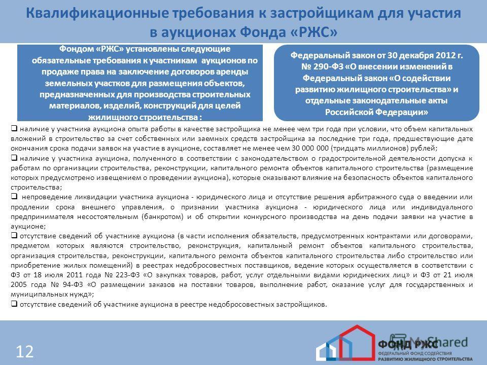 12 Квалификационные требования к застройщикам для участия в аукционах Фонда «РЖС» Фондом «РЖС» установлены следующие обязательные требования к участникам аукционов по продаже права на заключение договоров аренды земельных участков для размещения объе