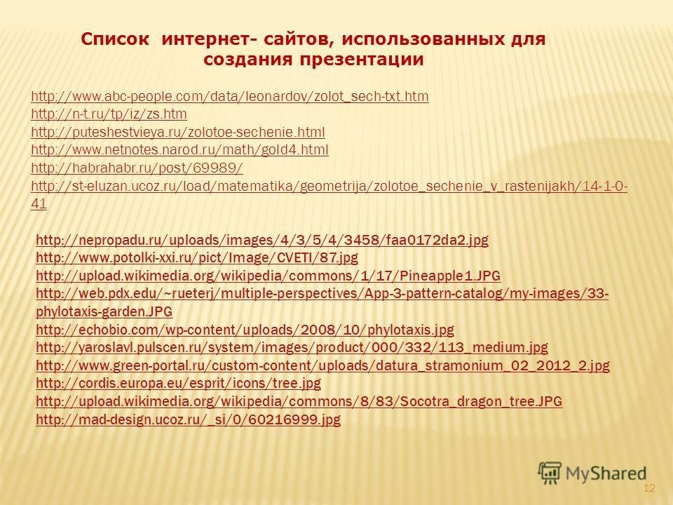 Список интернет- сайтов, использованных для создания презентации http://nepropadu.ru/uploads/images/4/3/5/4/3458/faa0172da2. jpg http://www.potolki-xxi.ru/pict/Image/CVETI/87. jpg http://upload.wikimedia.org/wikipedia/commons/1/17/Pineapple1. JPG htt