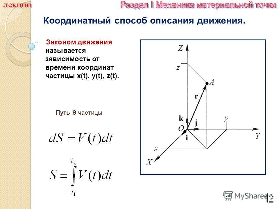 Координатный способ описания движения. Путь S частицы Законом движения называется зависимость от времени координат частицы x(t), y(t), z(t).