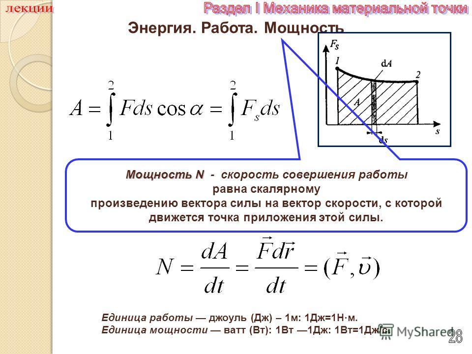 Энергия. Работа. Мощность Единица работы Единица работы джоуль (Дж) – 1 м: 1Дж=1Н м. Единица мощности Единица мощности ватт (Вт): 1Вт 1Дж: 1Вт=1Дж/с. Мощность N Мощность N - скорость совершения работы равна скалярному произведению вектора силы на век