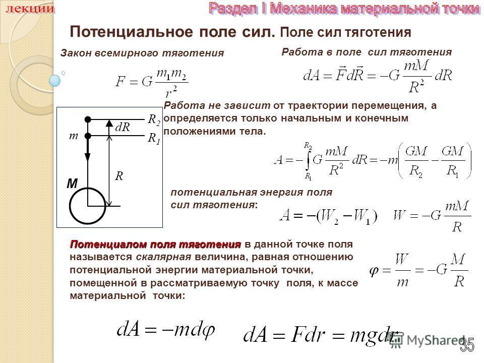 Потенциальное поле сил. Поле сил тяготения Закон всемирного тяготения Потенциалом поля тяготения скалярная Потенциалом поля тяготения в данной точке поля называется скалярная величина, равная отношению потенциальной энергии материальной точки, помеще
