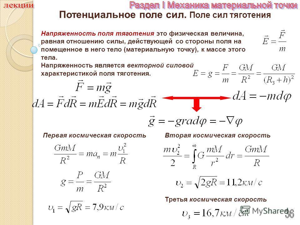 Напряженность поля тяготения Напряженность поля тяготения это физическая величина, равная отношению силы, действующей со стороны поля на помещенное в него тело (материальную точку), к массе этого тела. векторной силовой Напряженность является векторн