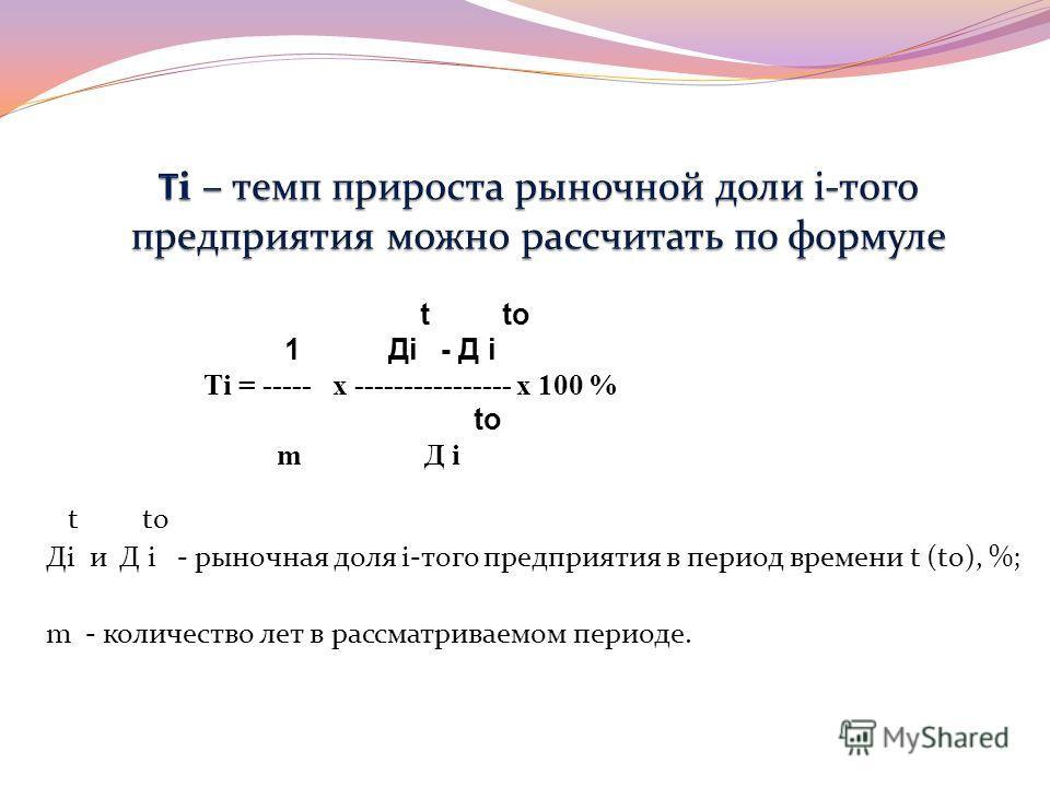 t to Дi и Д i - рыночная доля i-того предприятия в период времени t (to), %; m - количество лет в рассматриваемом периоде. t to 1 Дi - Д i Тi = ----- х ---------------- х 100 % to m Д i