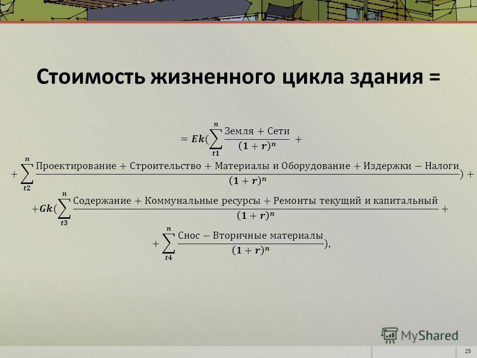 Стоимость жизненного цикла здания = 25