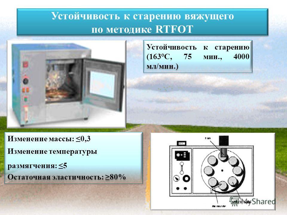 Устойчивость к старению вяжущего по методике RTFOT Устойчивость к старению (163°С, 75 мин., 4000 мл/мин.) Изменение массы: 0,3 Изменение температуры размягчения: 5 Остаточная эластичность: 80% Изменение массы: 0,3 Изменение температуры размягчения: 5