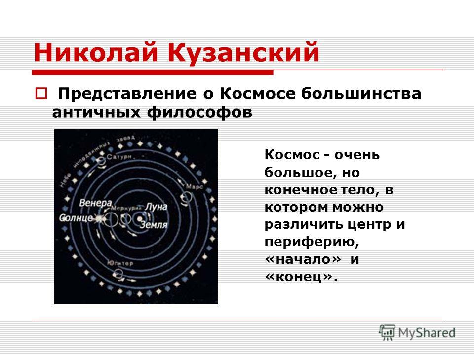 Николай Кузанский Представление о Космосе большинства античных философов Космос - очень большое, но конечное тело, в котором можно различить центр и периферию, «начало» и «конец».