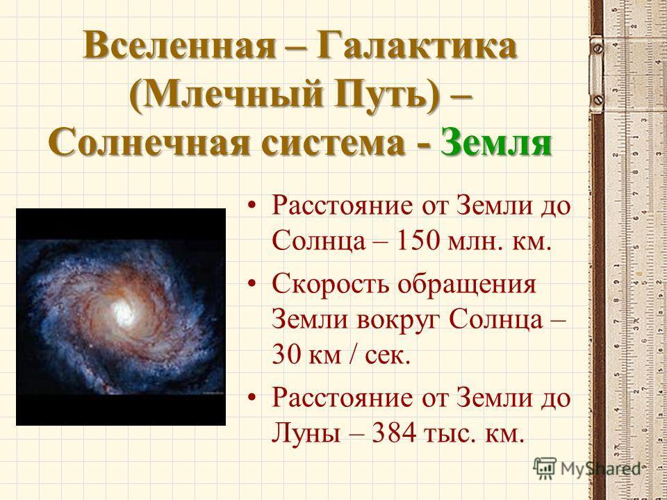 Вселенная – Галактика (Млечный Путь) – Солнечная система - Земля Расстояние от Земли до Солнца – 150 млн. км. Скорость обращения Земли вокруг Солнца – 30 км / сек. Расстояние от Земли до Луны – 384 тыс. км.