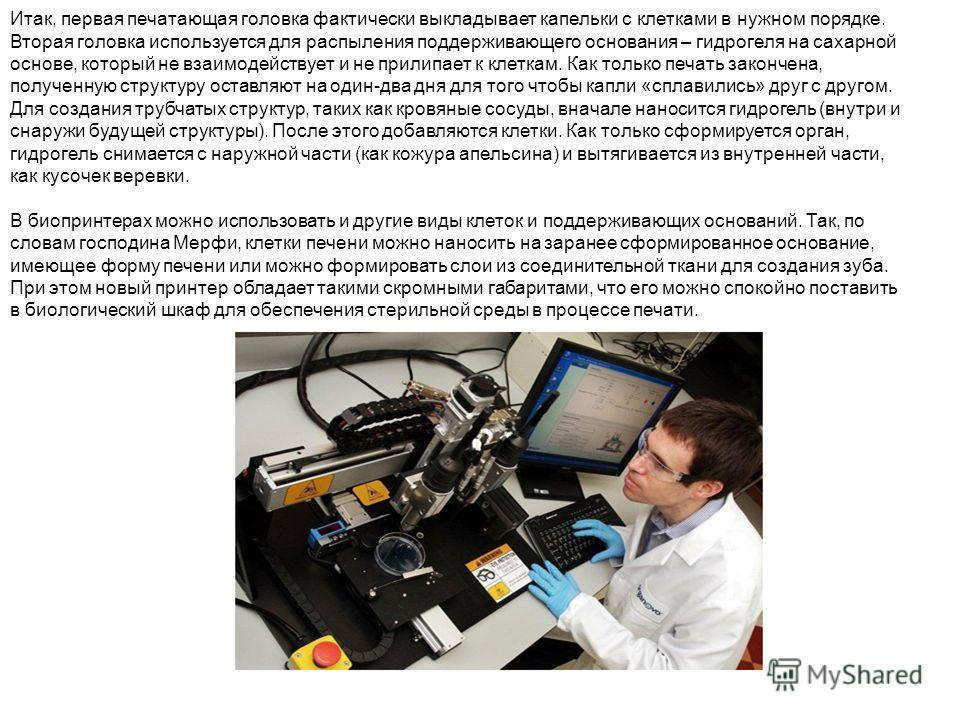 Итак, первая печатающая головка фактически выкладывает капельки с клетками в нужном порядке. Вторая головка используется для распыления поддерживающего основания – гидрогеля на сахарной основе, который не взаимодействует и не прилипает к клеткам. Как