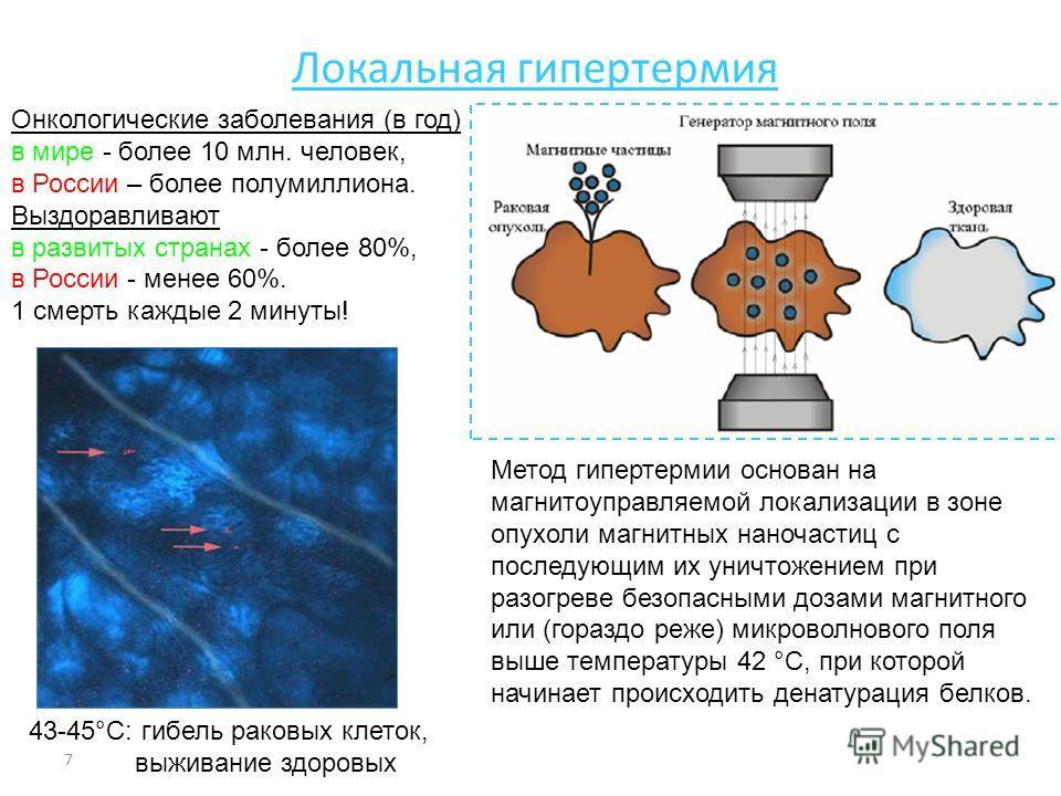 7 Локальная гипертермия Онкологические заболевания (в год) в мире - более 10 млн. человек, в России – более полумиллиона. Выздоравливают в развитых странах - более 80%, в России - менее 60%. 1 смерть каждые 2 минуты! Метод гипертермии основан на магн