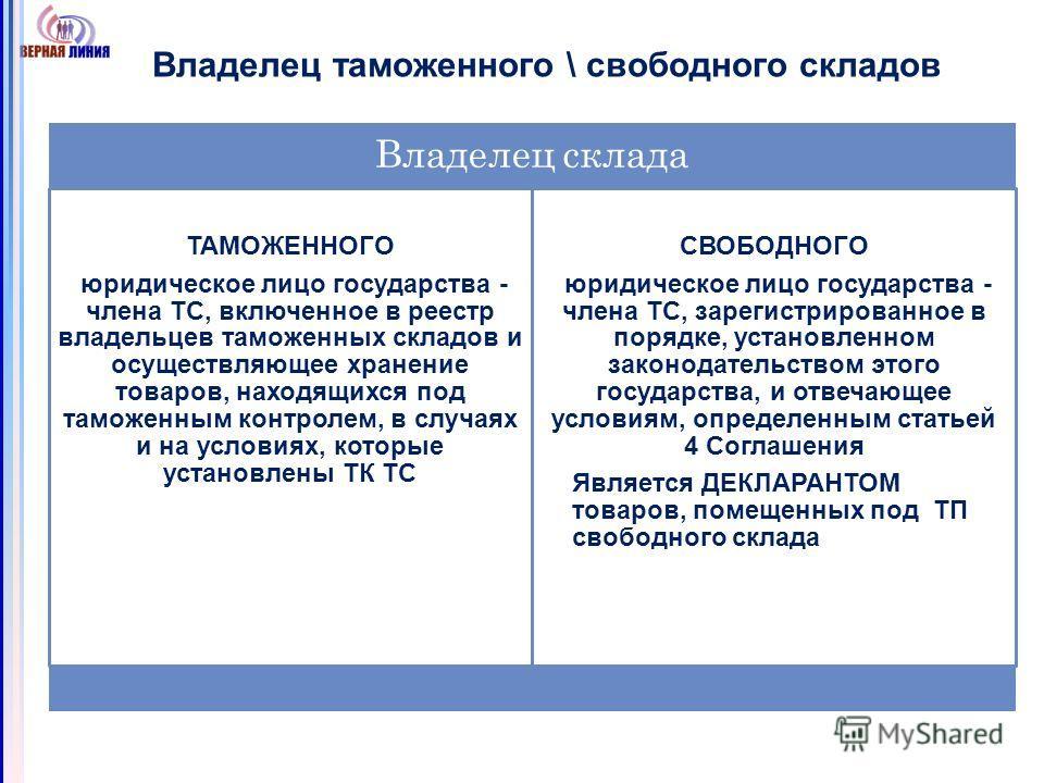 Владелец таможенного \ свободного складов Владелец склада ТАМОЖЕННОГО юридическое лицо государства - члена ТС, включенное в реестр владельцев таможенных складов и осуществляющее хранение товаров, находящихся под таможенным контролем, в случаях и на у