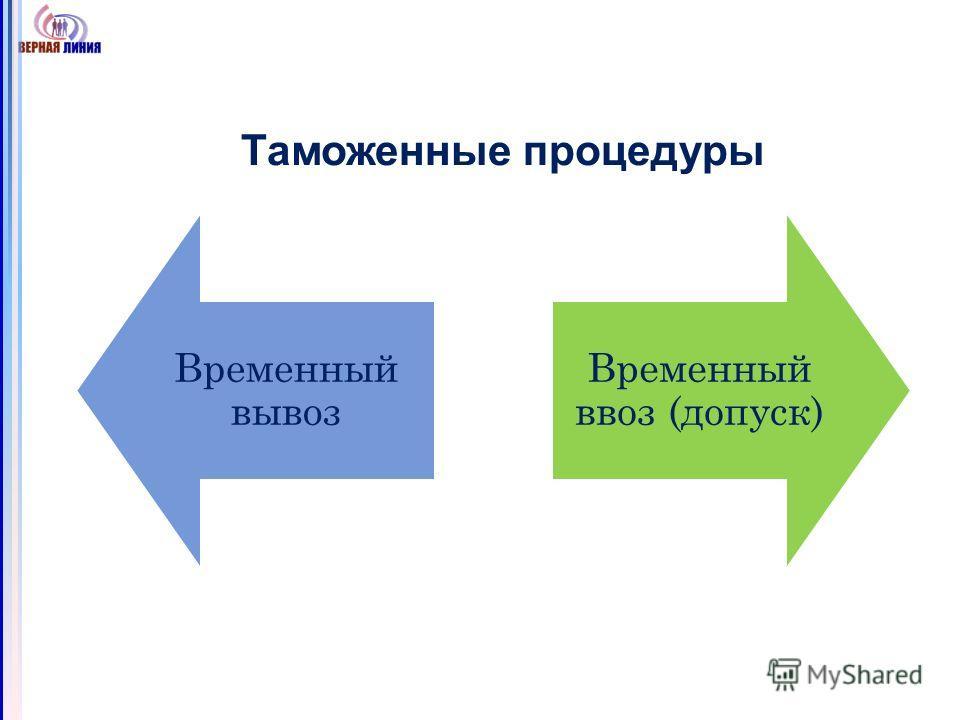 Таможенные процедуры Временный вывоз Временный ввоз (допуск)