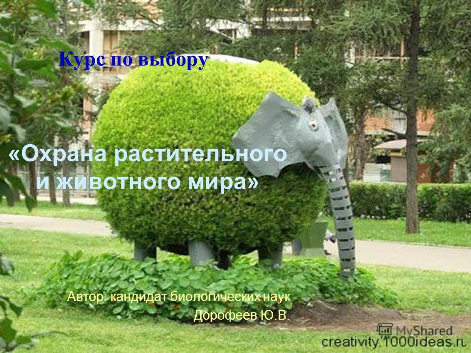 Курс по выбору «Охрана растительного и животного мира» Автор: кандидат биологических наук Дорофеев Ю.В.