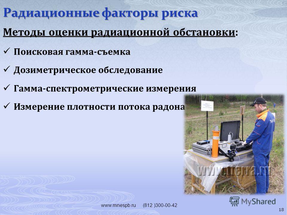 Радиационные факторы риска www.mnespb.ru (812 )300-00-42 Методы оценки радиационной обстановки: Поисковая гамма-съемка Дозиметрическое обследование Гамма-спектрометрические измерения Измерение плотности потока радона 18