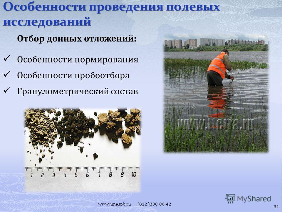 Особенности проведения полевых исследований www.mnespb.ru (812 )300-00-42 Отбор донных отложений: Особенности нормирования Особенности пробоотбора Гранулометрический состав 31