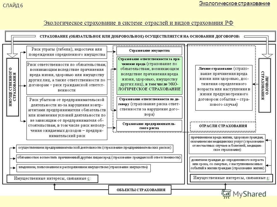 СЛАЙД 6 Экологическое страхование в системе отраслей и видов страхования РФ Экологическое страхование
