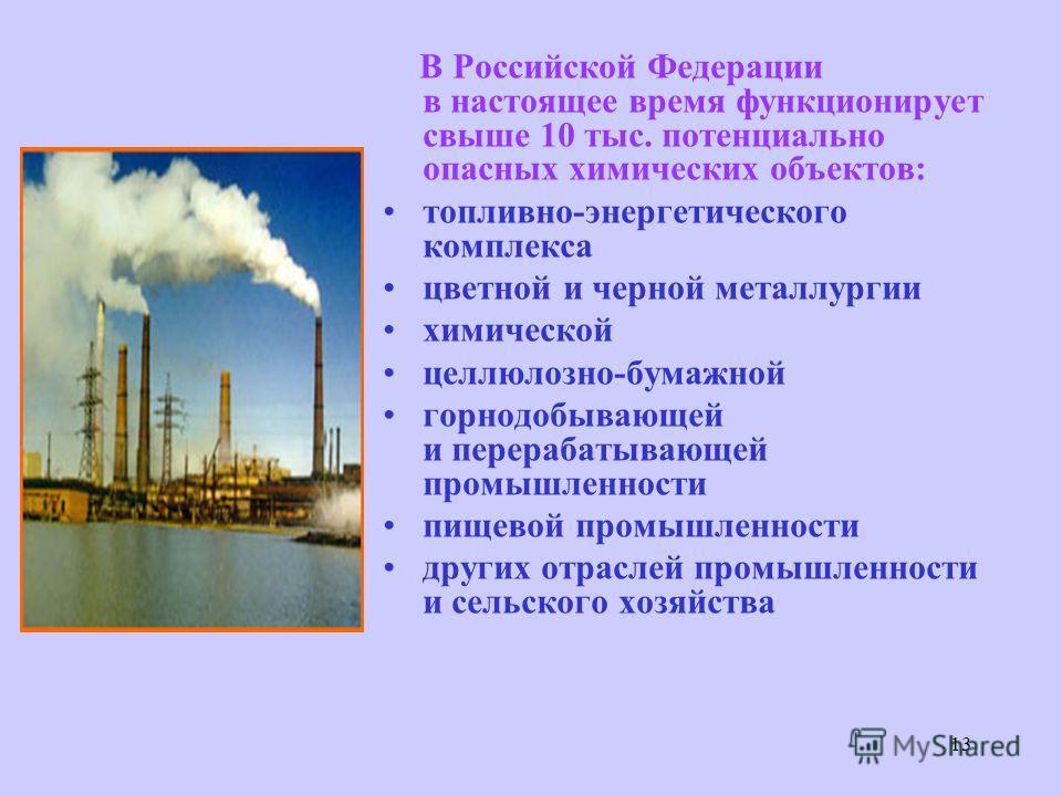 13 В Российской Федерации в настоящее время функционирует свыше 10 тыс. потенциально опасных химических объектов: топливно-энергетического комплекса цветной и черной металлургии химической целлюлозно-бумажной горнодобывающей и перерабатывающей промыш