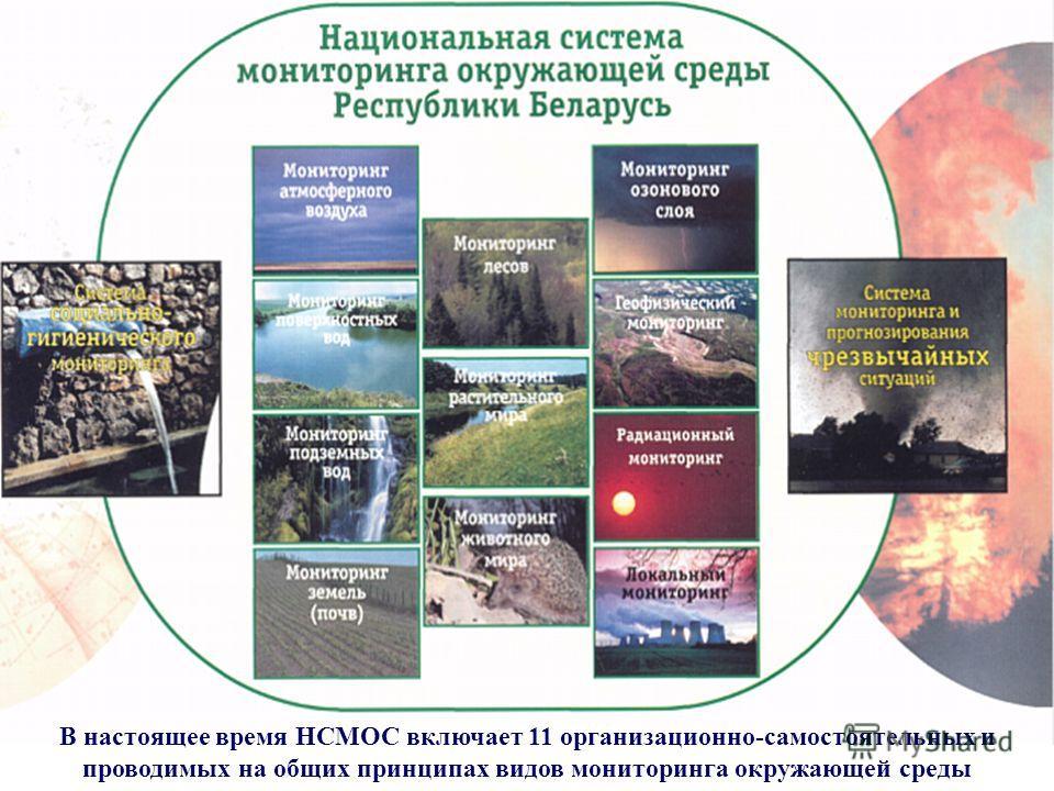В настоящее время НСМОС включает 11 организационно-самостоятельных и проводимых на общих принципах видов мониторинга окружающей среды