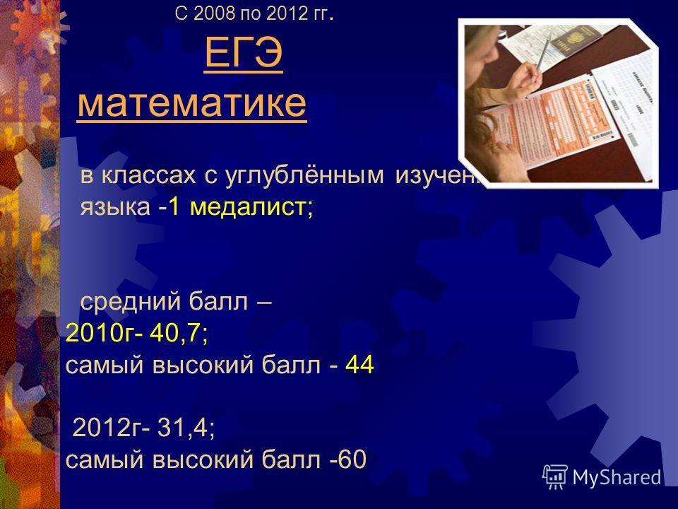 С 2008 по 2012 гг. ЕГЭ математике в классах с углублённым изучением русского языка -1 медалист; средний балл – 2010 г- 40,7; самый высокий балл - 44 2012 г- 31,4; самый высокий балл -60
