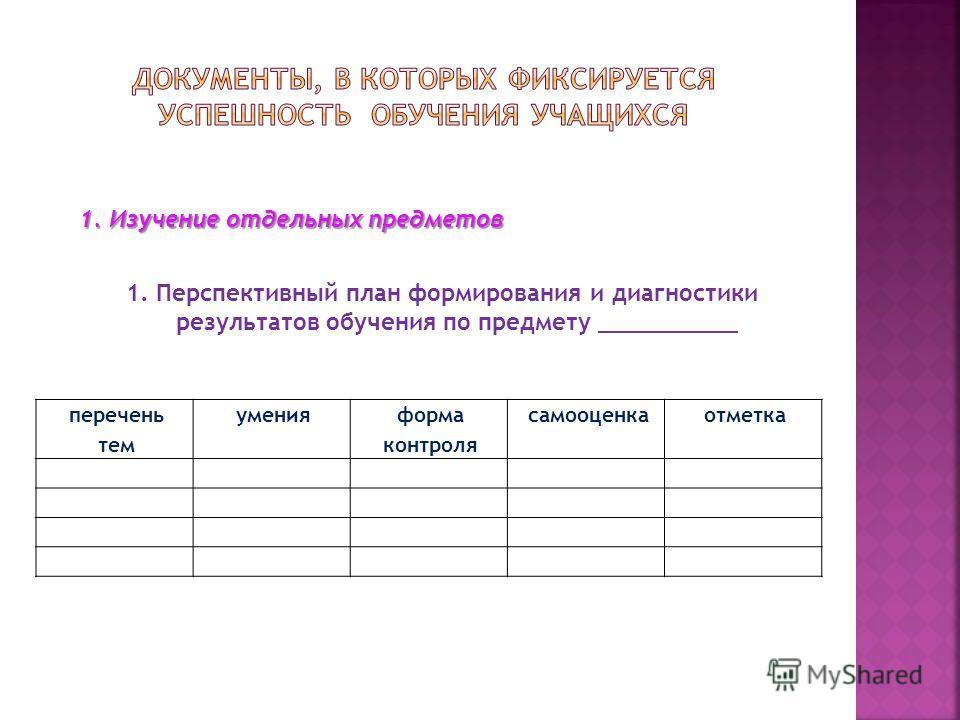 1. Изучение отдельных предметов 1. Перспективный план формирования и диагностики результатов обучения по предмету __________ перечень тем умения форма контроля самооценка отметка