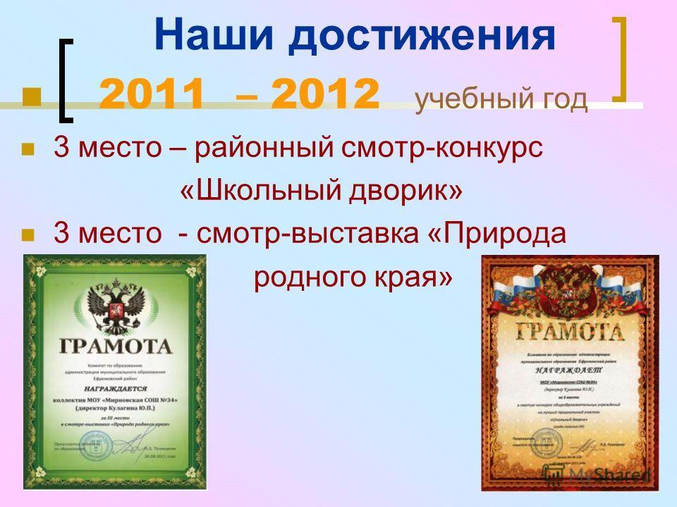 Наши достижения 2011 – 2012 учебный год 3 место – районный смотр-конкурс «Школьный дворик» 3 место - смотр-выставка «Природа родного края»