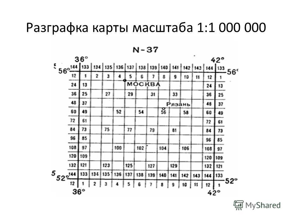 Разграфка карты масштаба 1:1 000 000