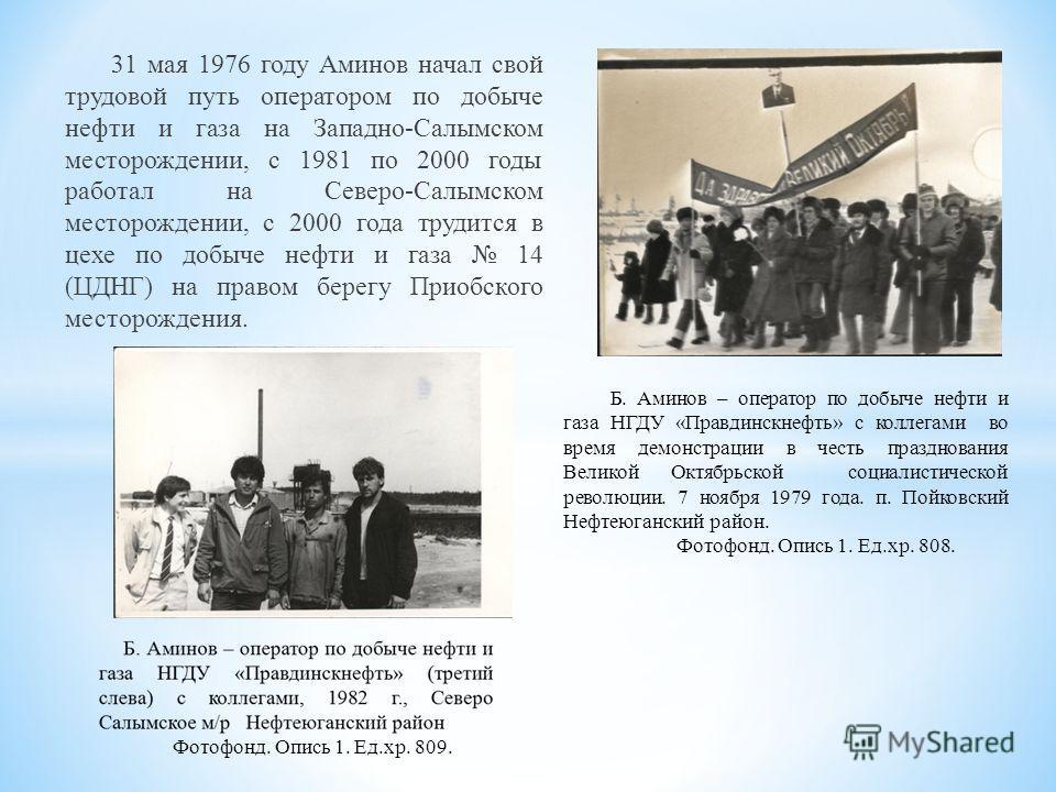 31 мая 1976 году Аминов начал свой трудовой путь оператором по добыче нефти и газа на Западно-Салымском месторождении, с 1981 по 2000 годы работал на Северо-Салымском месторождении, с 2000 года трудится в цехе по добыче нефти и газа 14 (ЦДНГ) на прав