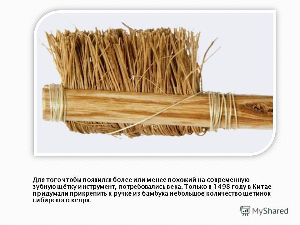 Для того чтобы появился более или менее похожий на современную зубную щётку инструмент, потребовались века. Только в 1498 году в Китае придумали прикрепить к ручке из бамбука небольшое количество щетинок сибирского вепря.