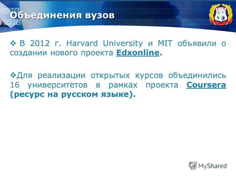 Объединения вузов В 2012 г. Harvard University и MIT объявили о создании нового проекта Edxonline.Edxonline Для реализации открытых курсов объединились 16 университетов в рамках проекта Coursera (ресурс на русском языке).Coursera